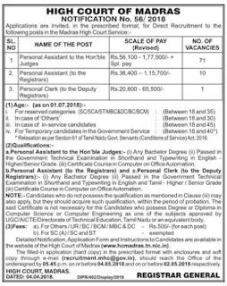 Madras-High-Court Personal Assistant Govt Jobs Recruitment Exam