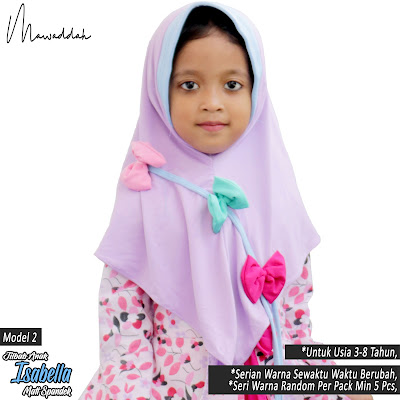 Jilbab Anak Spandek Kombinasi Dua Warna Bahan Adem Lembut