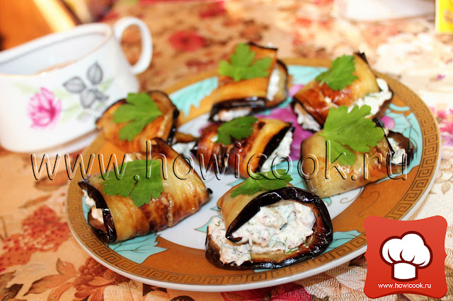 рецепт баклажанных рулетиков с ореховой начинкой