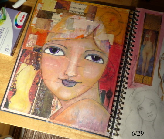 Whoopidooings: Carmen Wing: Mixed Media Face - progress #29Faces