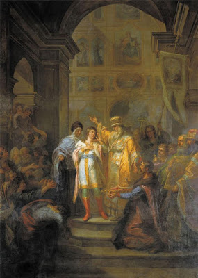 Mikhail Feodorovich is summoned to the Russian throne by Grigory Ugryumov