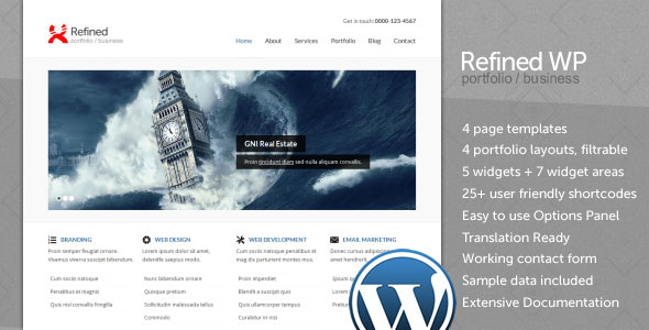 Refined WP corporate Wordpress Theme Free Download.