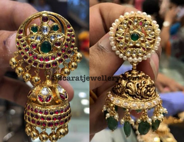 Kundan Nakshi Chandbalis with Drops