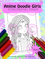hippie girl from Anime doodle girls coloring book by Jenny Luan