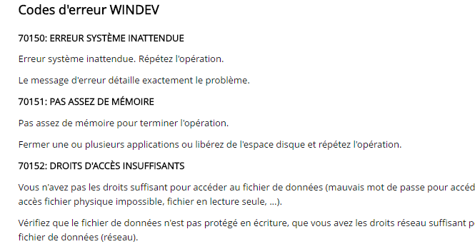 Liste des codes d 39 erreur windev cours windev - Code erreur s04 03 ...