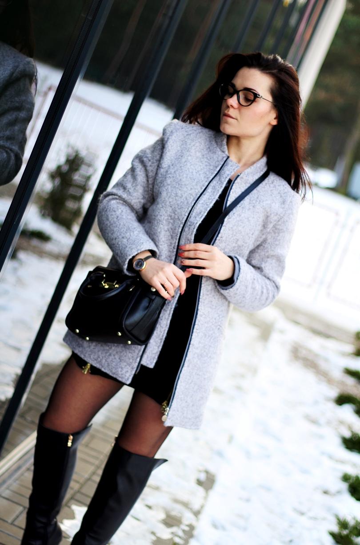 stylizacja, fashion, bonprix, niren, nucelle, timeandmore, stukstuk, skórzane, kozaki, do kolan, sukienka sweter, beżowy płaszcz, wełniany,