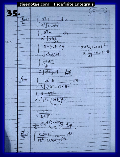 indefinite integrals iitjee7