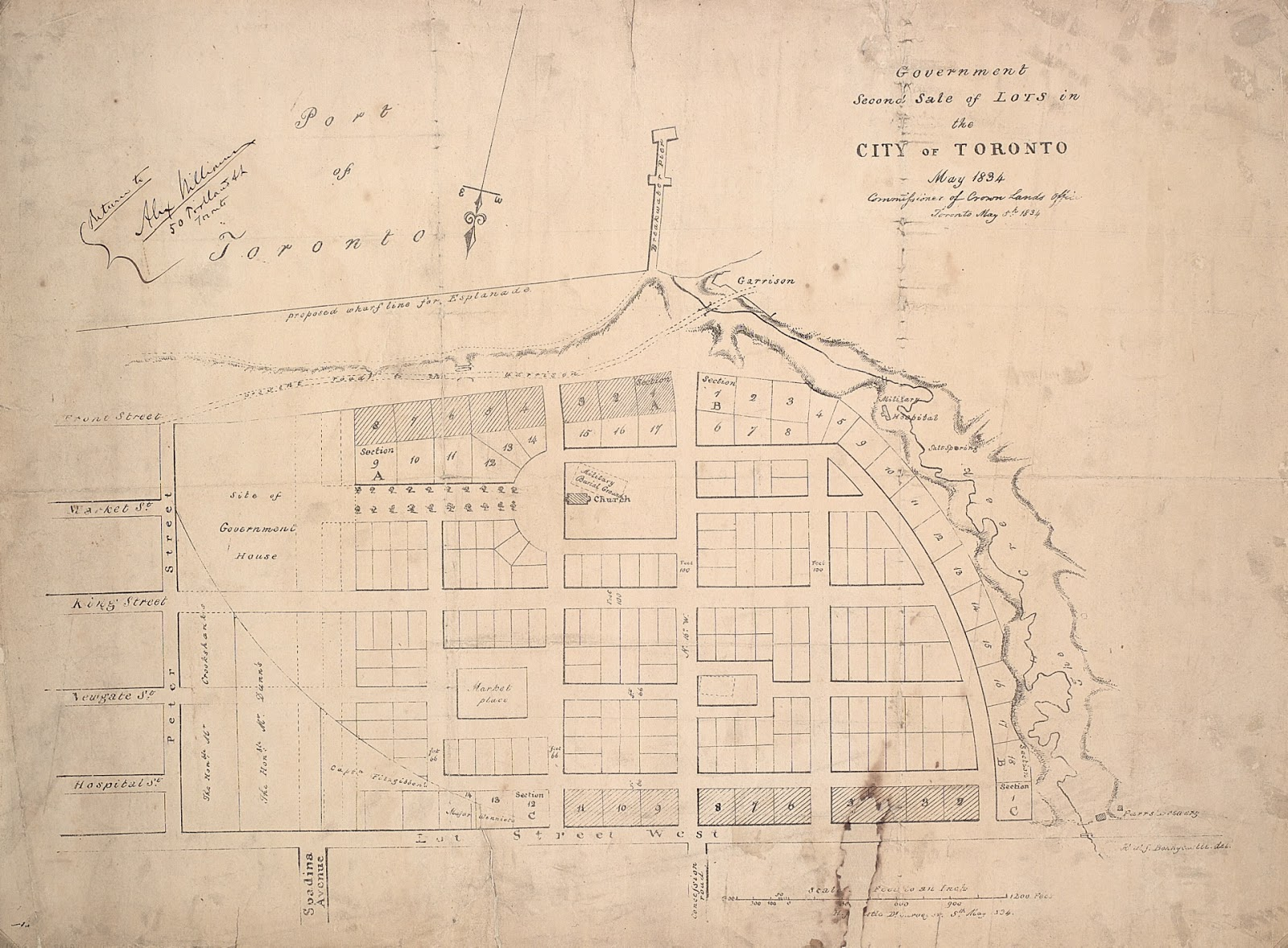 Map: Government Second Sale of Lots in the City of Toronto May 1834. Commissioner of Crown Lands Office Toronto May 5th 1834. H.J. Castle.