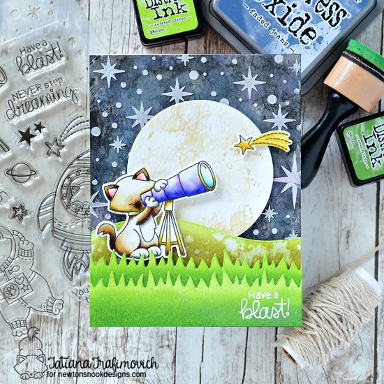 Have a Blast Card by Tatiana Trafimovich | Cosmic Newton Stamp set and Starfield Stencil by Newton's Nook Designs #newtonsnook #handmade