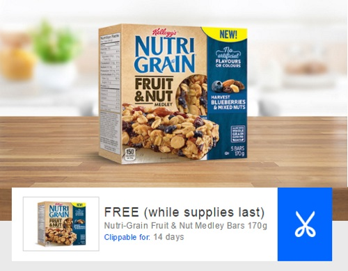 Coupgon Free Nutri-Grain Fruit & Nut Medley Bars