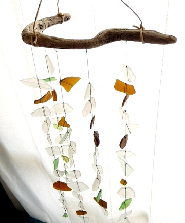 sea glass sun catcher made with driftwood