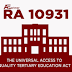 List of all state universities and colleges covered by free education RA 10931