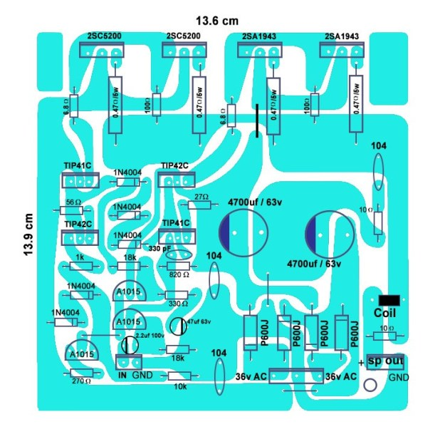 how to make 4 transistor amplifier 200 watts circuit board?