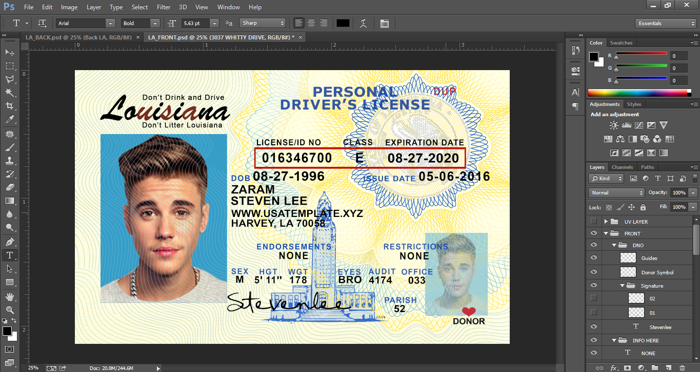 Louisiana id templates s for Louisiana id template
