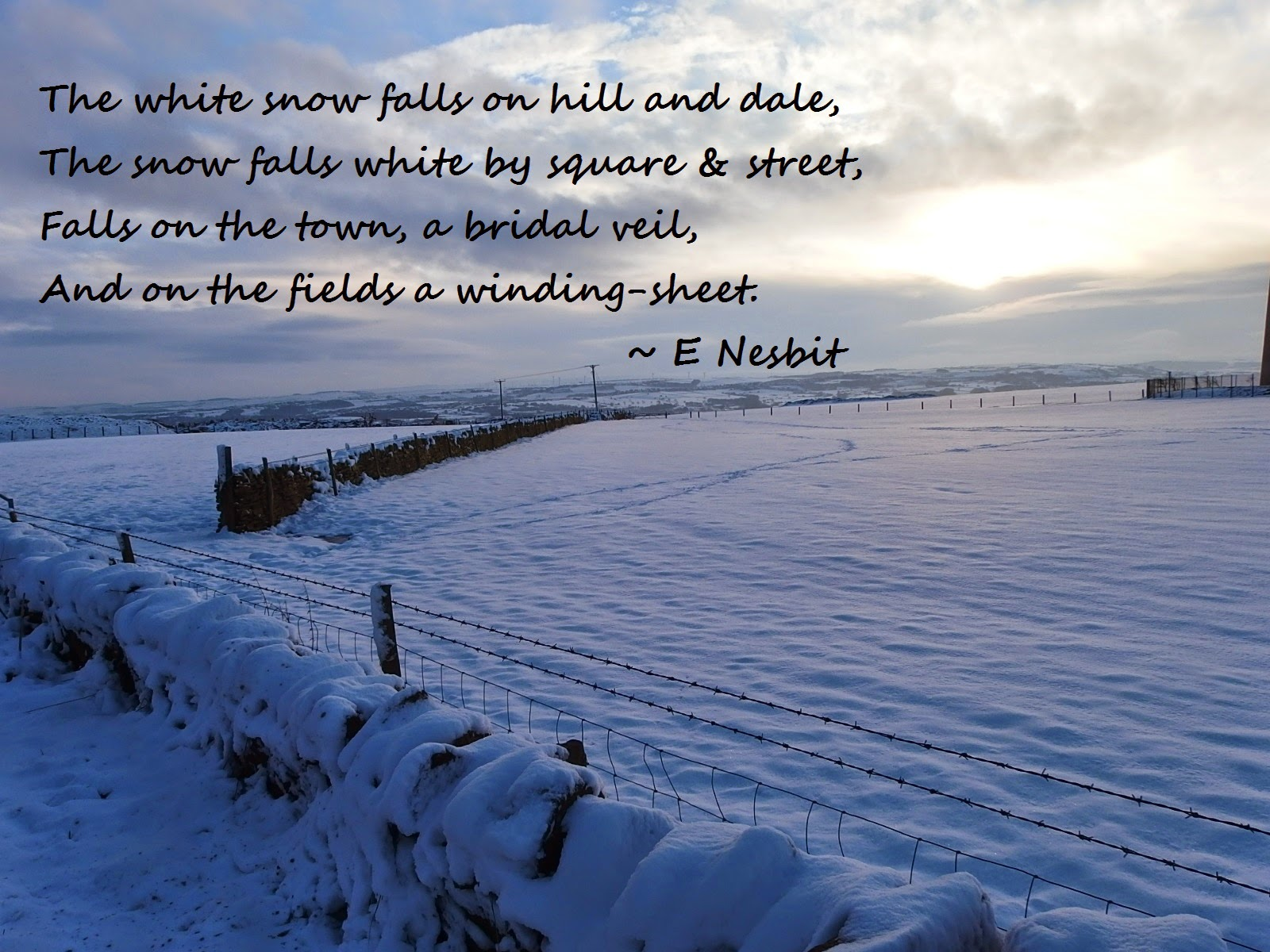 Extract from the White Snow Falls by E Nesbit with picture of Emily Moor, Yorkshire in snow