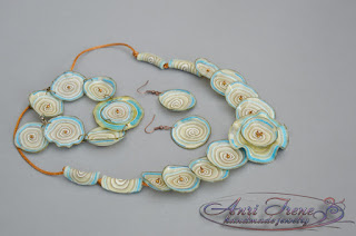 "Jewelry set ""Wave"", polymer clay."