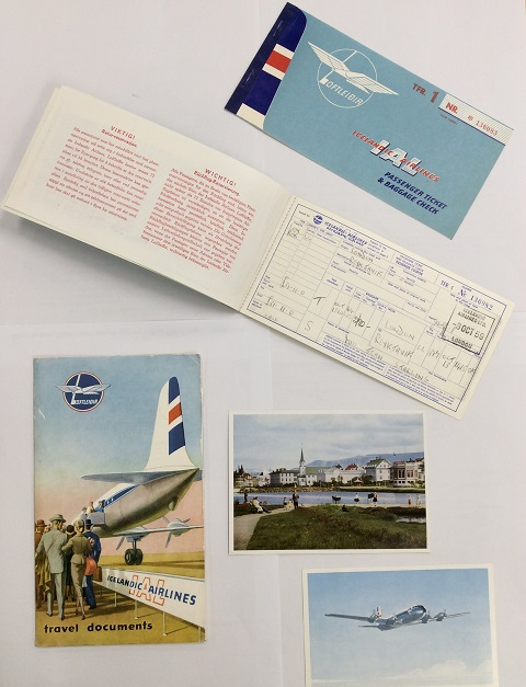 Travel documents from Jean's trip in 1959