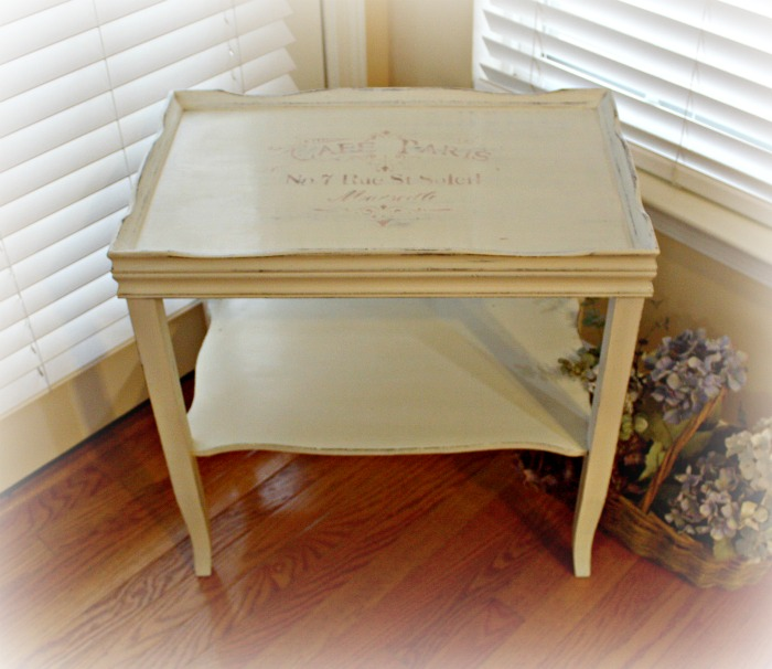 Table painted Old White with Stencil