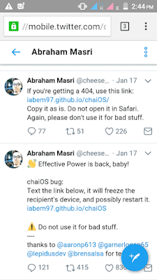 Link will freeze device