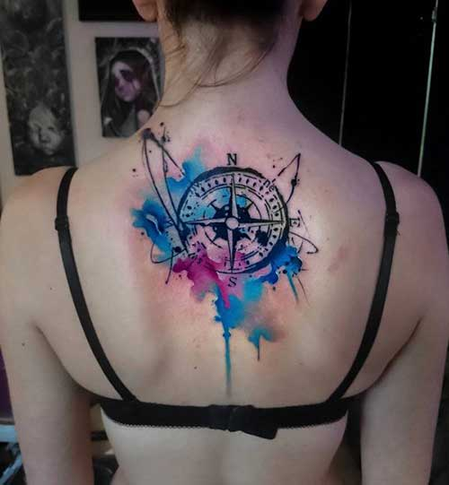 watercolor neck compass tattoo