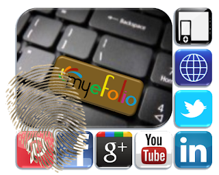 image shows several social media icons bordering a partial keyboard with the word myeFolio printed on the ENTER key