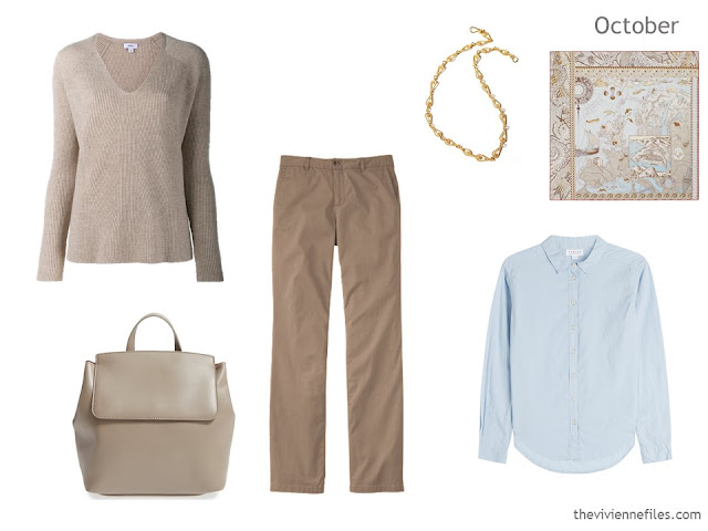 3-piece outfit in beige and soft blue, for a Summer