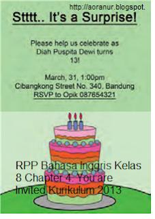 Rpp Bahasa Inggris Kelas 8 Chapter 4 You Are Invited Kurikulum 2013 Sesuai Dengan Permendikbud