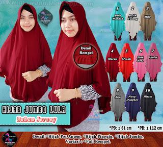 Jilbab syar'i ukuran jumbo model baru full rempel bahan jersey berkualitas