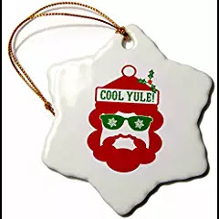 Hipster Funny Christmas Ornament Cool Yule Design in Red White and Green - 3 inch Snowflake Porcelain $coolyule #christmasmusic #learnyourchristmascarols #christmasornament #hipsterchristmas available on Amazon