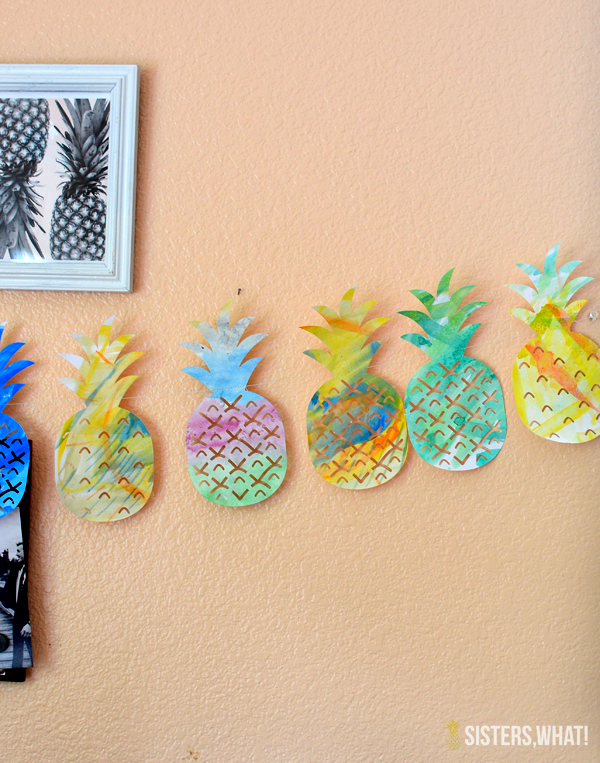 pineapple watercolor garland