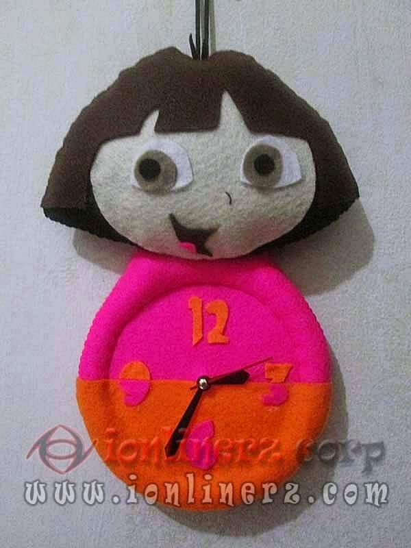 Jam Dinding Flanel Karakter Kartun Boneka Dora The Explorer