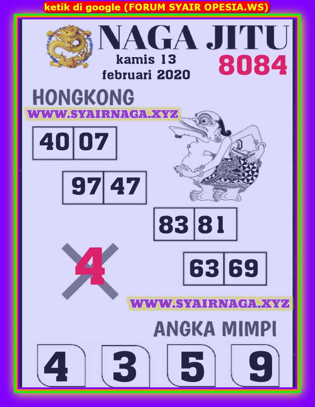 Kode syair Hongkong Kamis 13 Februari 2020 127