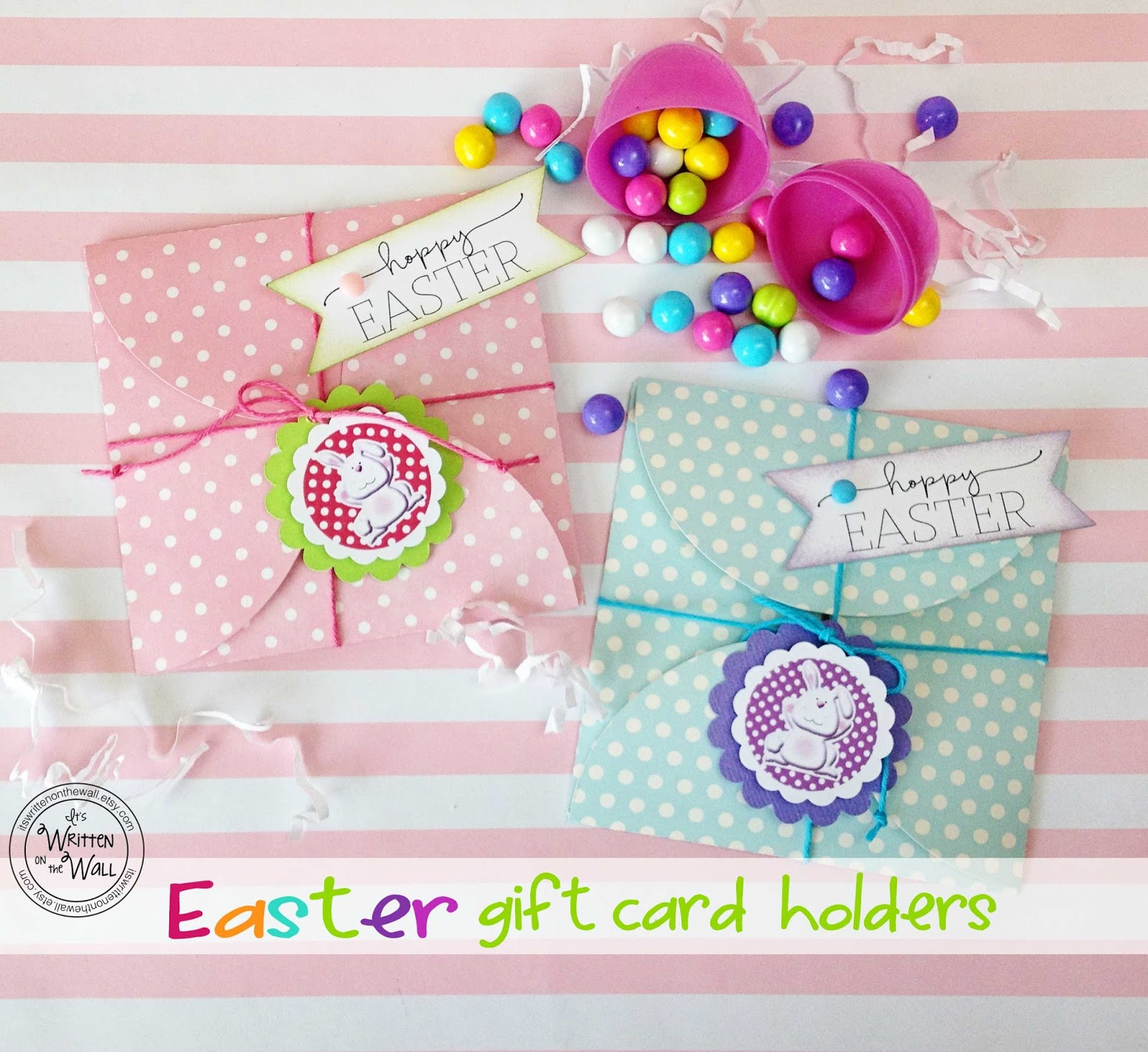 Its written on the wall wrap up a gift card for easter baskets in wrap up a gift card for easter baskets in these cute gift card holders boys girls negle Images