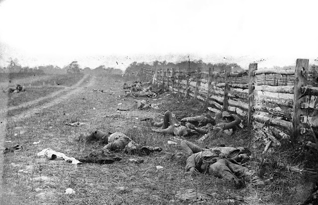 Confederate dead lie strewn near a fence on the Hagerstown road, after the Battle of Antietam, in Maryland, in September of 1862.