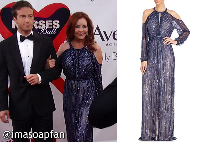 Bobbie Spencer, Jackie Zeman, Beaded Blue Gown, Parker Black, Nurses Ball, GH, General Hospital