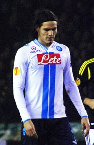 The striker Edinson Cavani became a star under Mazzarri at Napoli