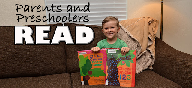 preschooler with popular children's books having fun!