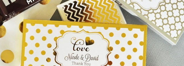 Chocolate Candy Wrapped In Gold Foil Personalized