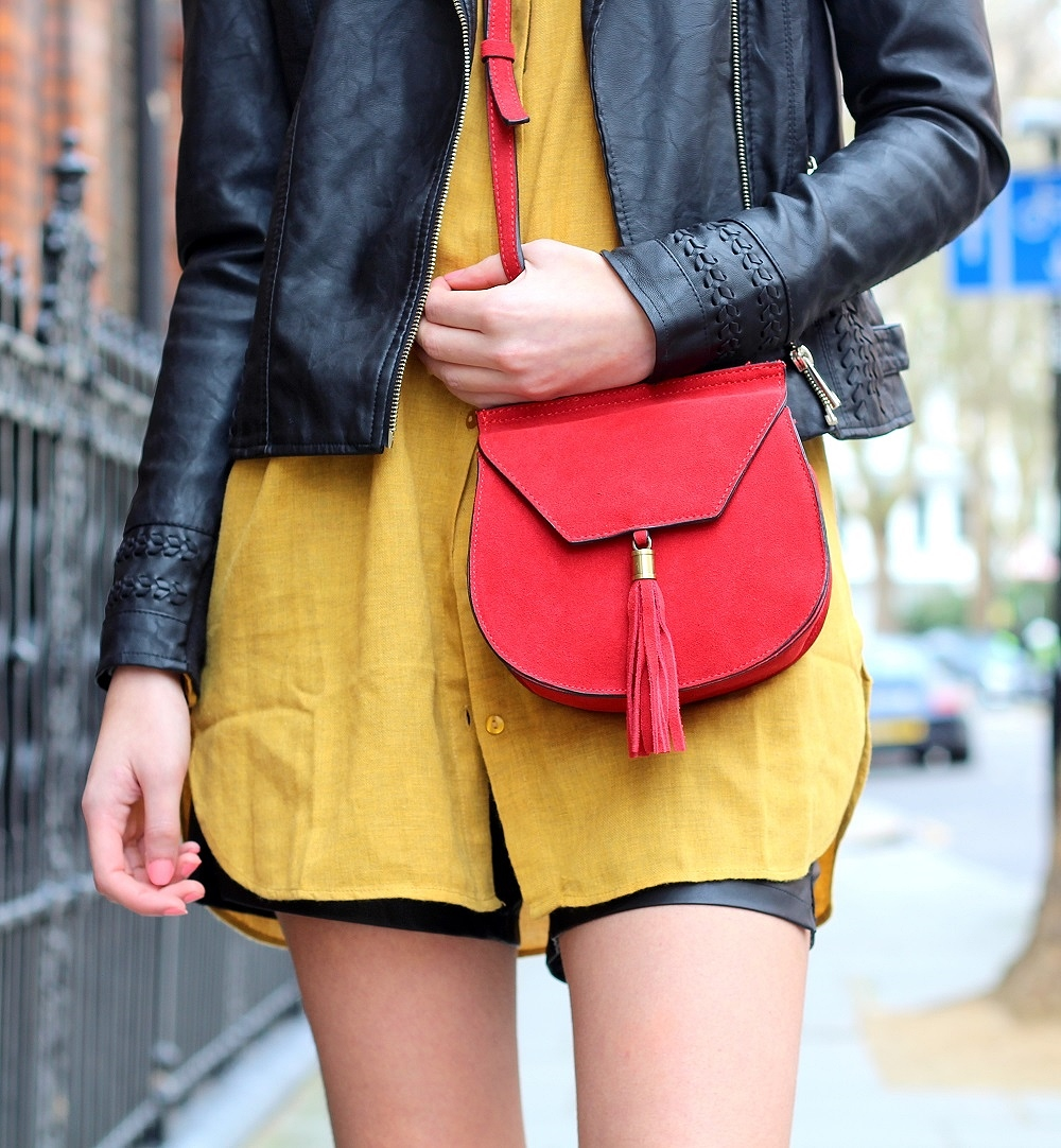 crossbody bag red suede nastygal