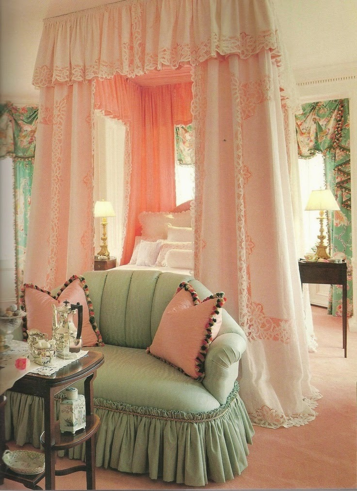Sage Green and Pink Bedroom