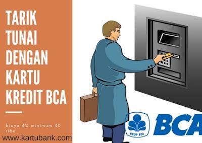 Seorang Bapak tarik tunai di ATM dengan menggunakan kartu kredit BCA
