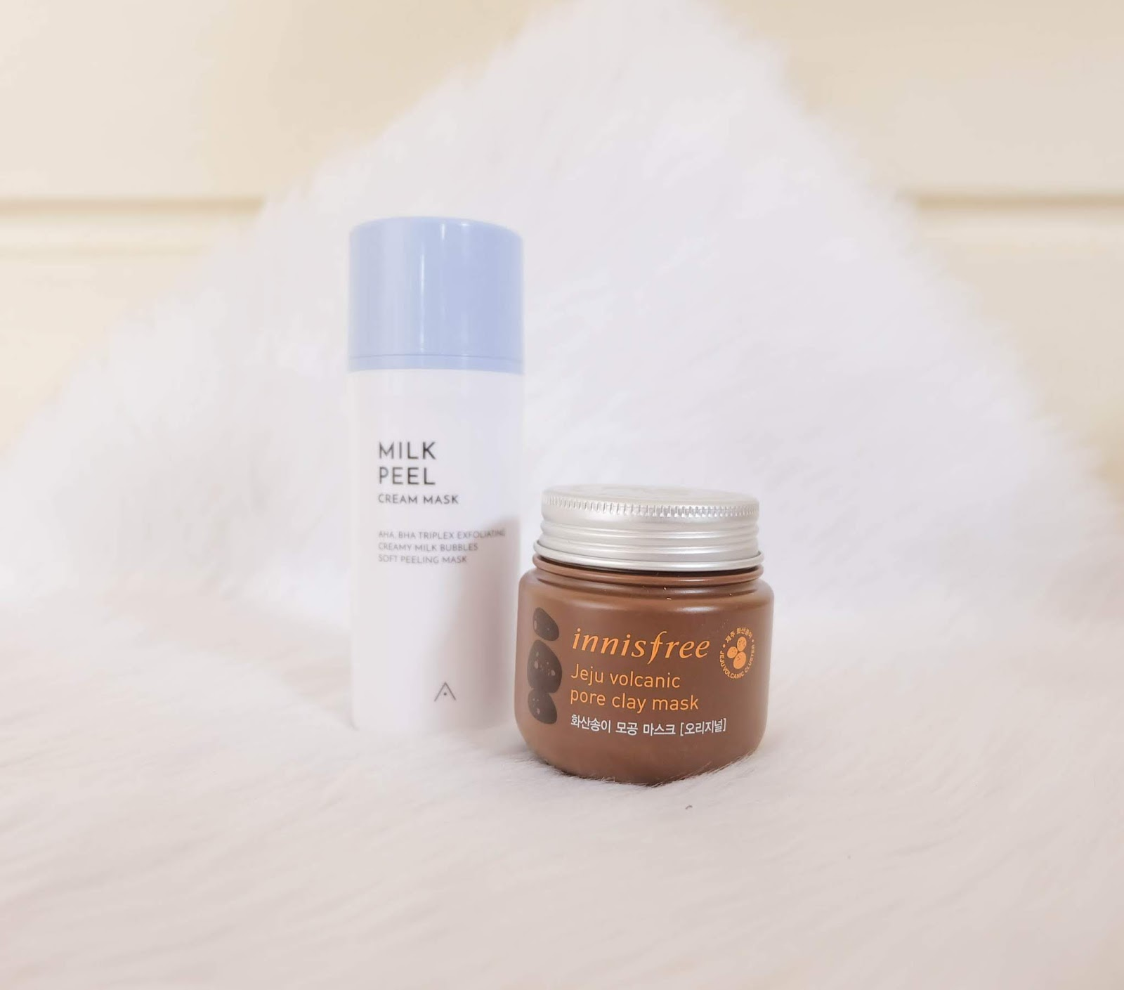 Althea Milk Peel Cream Mask and Innisfree Jeju Volcanic Pore Clay Mask