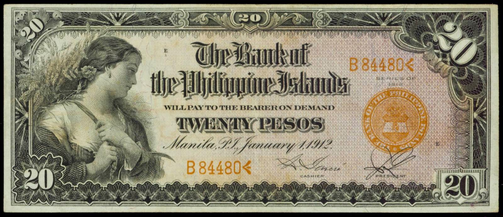 Philippines Banknotes 20 Pesos Philippine Bank Note 1912