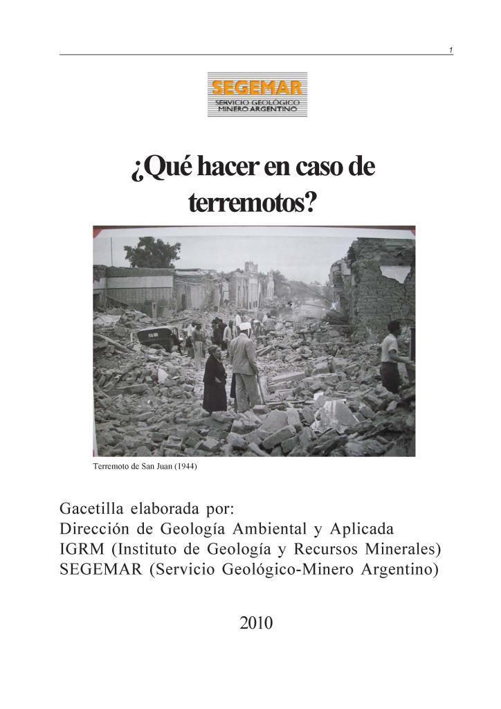 ¿Qué hacer en caso de terremotos? – SEGEMAR