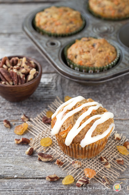 Carrot-Cake-Muffins-Cream-Cheese-Glaze-cookingonthefrontburners.com