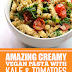 Amazing Creamy Vegan Pasta with Kale & Tomatoes #vegan #kale
