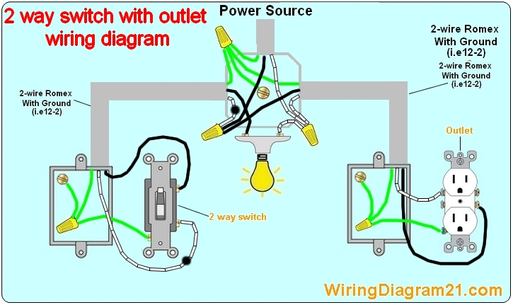 2 way light switch wiring diagram electrical circuit schematic how to wire