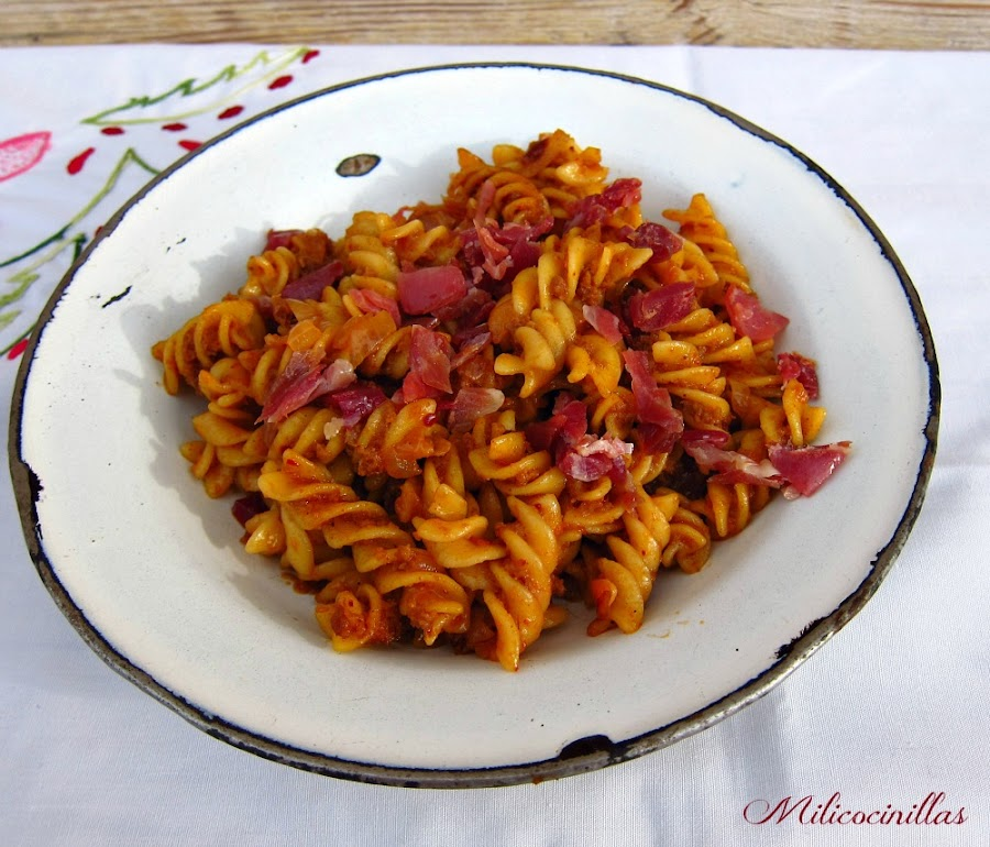 receta-facil-macarrones-sobrasada-jamon-singluten