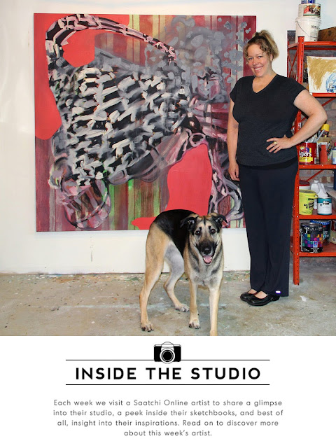 artist and her dog in studio