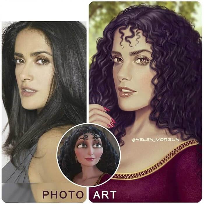 17-Salma-Hayek-As-Mother-Gothel-Helen-Morgun-Celebrities-and-Disney-www-designstack-co